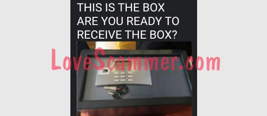 A picture of a money box used for a scam.