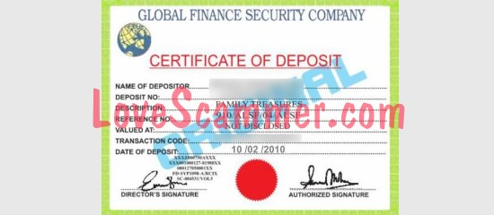 Fake certificate used by a scammer.